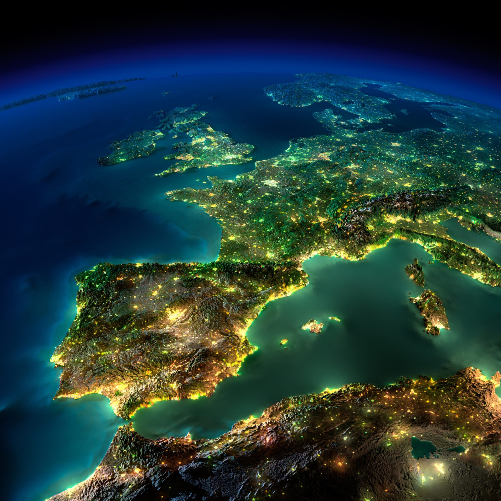 Европа ночью