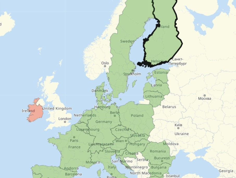 Карта снятия ограничений из-за коронавируса для туристов в Европе